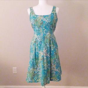 9 & Co. Aqua,Tan & White Floral Pleated Dress
